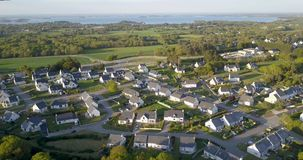 Aerial View Of The Village Rural Near the Ocean stock video footage