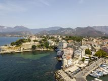 Aerial view of the village of Saint Florent, Corsica, France. Stock Images