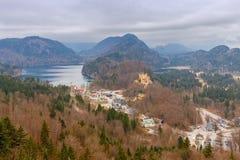 Bavaria. The village Schwangau. Aerial view of the village Schwangau and the lake. Germany. Bavaria Stock Image