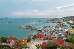 Aerial view of village at Sri-chung island. royalty free stock images