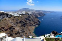 Aerial view on village of Thira town on Santorini island, Greece Stock Images