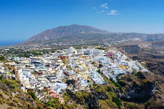 Aerial view on village of Thira town on Santorini island, Greece Royalty Free Stock Image