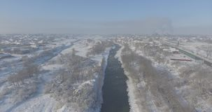 Aerial view village in the winter stock video