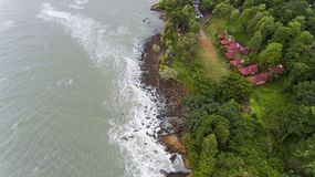Aerial View of villas on the beach surrounded by trees. Koh Chang, Thailand stock photo