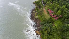 Aerial View of villas on the beach surrounded by trees. Koh Chang, Thailand royalty free stock photography