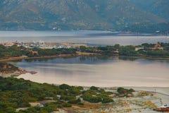 Aerial view of Villasimius beach, Sardinia, Italy Stock Images