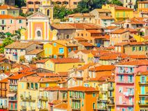 Aerial view of the Villefranche-sur-Mer, France stock images