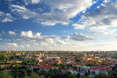 Aerial view of Vilnius Old Town, one of the largest surviving medieval old towns in Northern Europe. Sunset landscape of UNESCO-inscribed Old Town of Vilnius stock photography