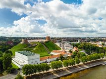 Aerial view of Vilnius Old Town, one of the largest surviving medieval old towns in Northern Europe. Sunset landscape of Old Town. Aerial view of Vilnius Old royalty free stock photos