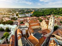 Aerial view of Vilnius Old Town, one of the largest surviving medieval old towns in Northern Europe. Sunset landscape of UNESCO-in Royalty Free Stock Images