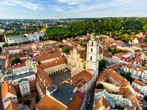 Aerial view of Vilnius Old Town, one of the largest surviving medieval old towns in Northern Europe. Sunset landscape of UNESCO-in Royalty Free Stock Photos