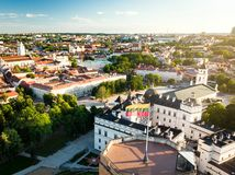 Aerial view of Vilnius Old Town, one of the largest surviving medieval old towns in Northern Europe. Sunset landscape of Old Town. Aerial view of Vilnius Old royalty free stock image