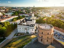 Aerial view of Vilnius Old Town, one of the largest surviving medieval old towns in Northern Europe. Sunset landscape of Old Town. Aerial view of Vilnius Old stock photos