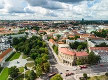 Aerial view of Vilnius Old Town, one of the largest surviving medieval old towns in Northern Europe. Sunset landscape of Old Town. Aerial view of Vilnius Old stock image