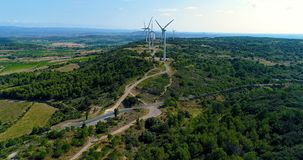 Aerial view of vines with Wind turbines Stock Photography