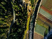 Aerial view of vineyard fields during winter in Italy. View fron above royalty free stock photos