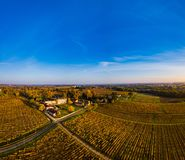 Aerial view, Vineyard Sunrise in autumn, Bordeaux Vineyard, France. Aerial view, Vineyard Sunrise in autumn, Bordeaux Vineyard, Gironde, France stock image