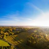 Aerial view, Vineyard Sunrise in autumn, Bordeaux Vineyard, France. Aerial view, Vineyard Sunrise in autumn, Bordeaux Vineyard, Gironde, France royalty free stock image