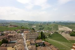 Aerial view of the vineyards of Barbaresco, Piedmont. stock photo