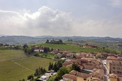 Aerial view of the vineyards of Barbaresco, Piedmont. royalty free stock photos