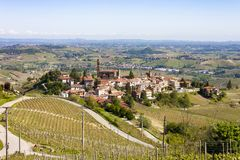 Aerial view of the vineyards of Castiglione Tinella, Piedmont. The splendid vineyards of Castiglione Tinella, in the province of Cuneo in the Italian region of stock image