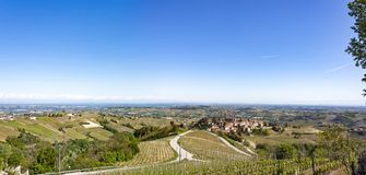 Aerial view of the vineyards of Castiglione Tinella, Piedmont. The splendid vineyards of Castiglione Tinella, in the province of Cuneo in the Italian region of stock photo