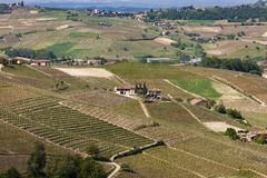 Aerial view of the vineyards of Langhe, Piedmont. royalty free stock photography