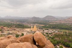 Aerial View of Virupaksha or Pampapati temple and Whole Hampi, Karnataka, India. Aerial View of Virupaksha or Pampapati temple and Whole Hampi, Karnataka,India stock photography