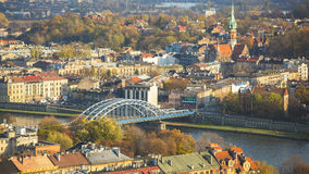 Aerial view of the Vistula River in the historic city center. Royalty Free Stock Images