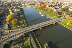 Aerial view of the Vistula River in the historic city center. Stock Photo