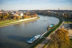 Aerial view of the Vistula River in the historic city center. Vistula is the longest river in Poland, at 1,047 kilometres in lengt Royalty Free Stock Photo
