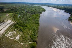 Aerial view - Vistula River near Kazimierz Dolny , Poland Stock Photo