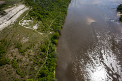 Aerial view - Vistula River near Kazimierz Dolny , Poland Royalty Free Stock Photos