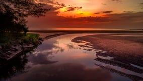 Aerial View: vivid purple ocean sunset, Khao Lak Thailand Royalty Free Stock Photo