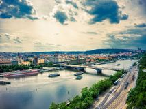 Aerial view of Vltava river stock images