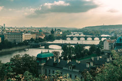 Aerial view of Vltava River in Prague, Czechia Stock Photo