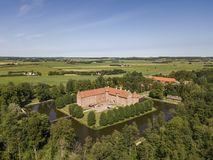 Aerial view of Voergaard Castle near Dronninglund on the North Jutland peninsula. In north-western Denmark royalty free stock image