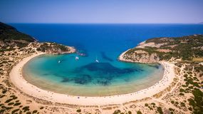 Aerial view of voidokilia beach, Messinia, Greece. Panoramic aerial view of voidokilia beach, one of the best beaches in mediterranean Europe, beautiful lagoon Stock Photography