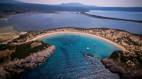 Aerial view of voidokilia beach, Messinia, Greece. Panoramic aerial view of voidokilia beach, one of the best beaches in mediterranean Europe, beautiful lagoon Royalty Free Stock Photos