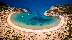 Aerial view of voidokilia beach, Messinia, Greece. Panoramic aerial view of voidokilia beach, one of the best beaches in mediterranean Europe, beautiful lagoon Royalty Free Stock Image