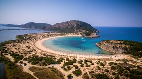 Aerial view of voidokilia beach, Messinia, Greece. Panoramic aerial view of voidokilia beach, one of the best beaches in mediterranean Europe, beautiful lagoon Stock Photos