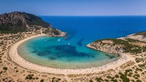 Aerial view of voidokilia beach, Messinia, Greece. Panoramic aerial view of voidokilia beach, one of the best beaches in mediterranean Europe, beautiful lagoon Stock Photo