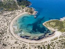 Aerial view of Voidokilia Beach, a popular beach in Messinia in the Mediterranean area. Of Greece Royalty Free Stock Photography