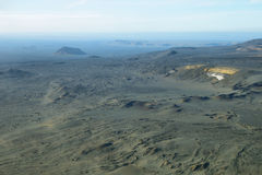 Aerial view of volcanic landscape. In Iceland Highland region Royalty Free Stock Photos