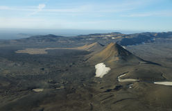 Aerial view of volcanic landscape. In Iceland Highland region Stock Photo