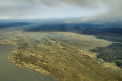 Aerial view of volcanic landscape. In Iceland Highland region Stock Photography