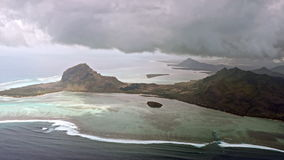 Aerial view on volcanic tropical island stock footage