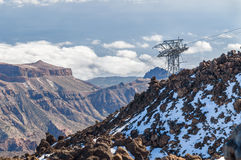 Aerial view from volcano Teide on cable car and mountains Stock Photos