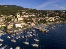 Aerial View of Volosko in Opatija, Croatia Royalty Free Stock Photo
