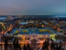 Aerial view of Voronezh in winter night from height of drone flight.  royalty free stock images